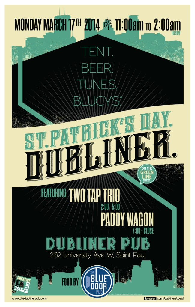 St. Patrick's Day at the Dubliner 2014 poster